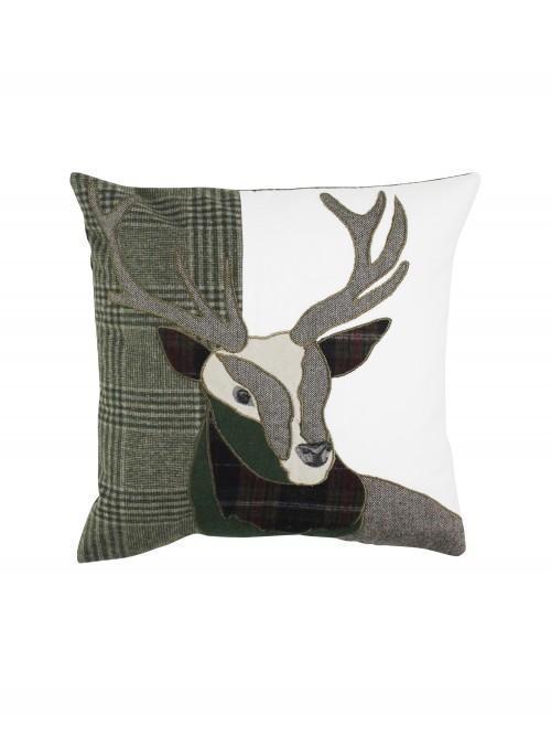 Patchwork Stag Cushion Plum