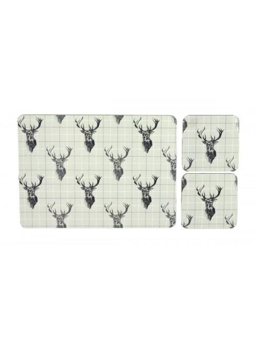 Stag Cork Placemat & Coaster Set Natural