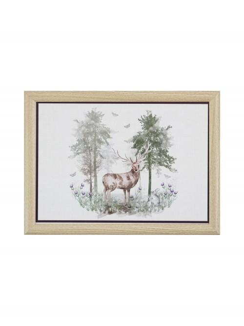 Watercolour Stag Lap Tray Plum