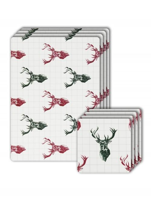 Stag Cork Placemat And Coaster Set Red