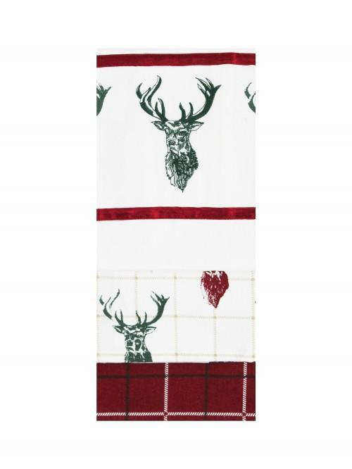 Stag 3pk Tea Towels Red