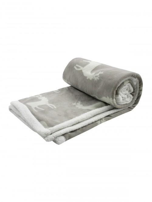 Silhouette Stag Printed Sherpa Throw Natural