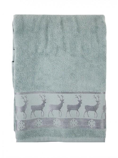 Hotel Stag Border Towels 2 Pack Duck Egg