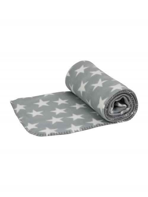 Printed Star Fleece Throw Grey