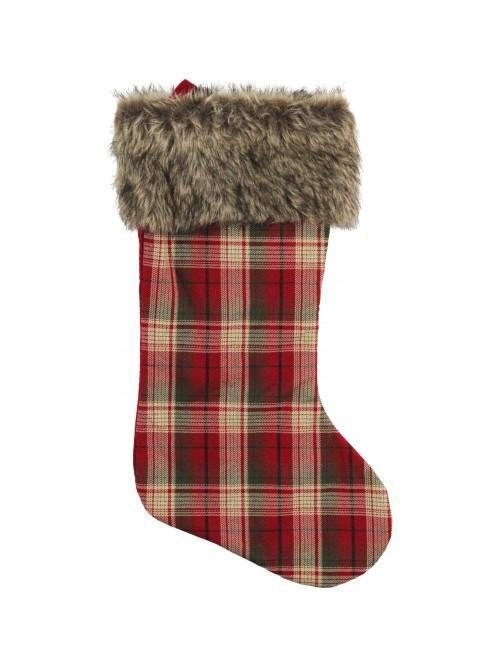 Fur And Check Stocking Red