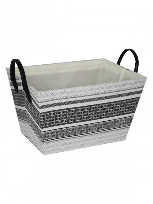 Mono Stripe Storage Tray Grey