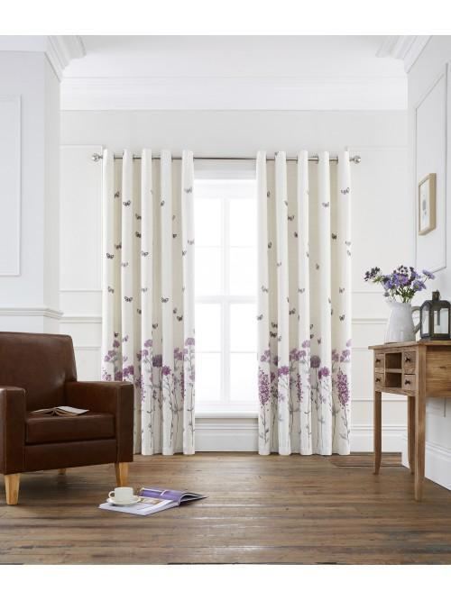 Summer Garden Eyelet Curtains Mauve