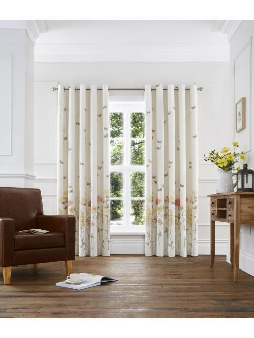 Summer Garden Eyelet Curtains Ochre
