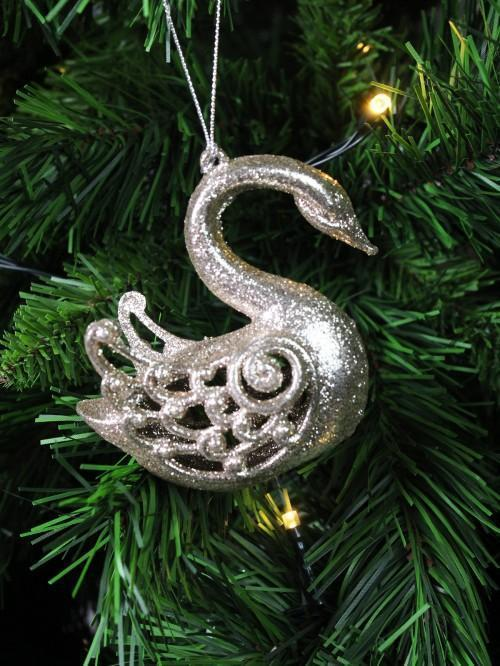 Glitter Swan Hanging Tree Decoration
