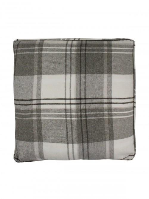 Tatton Woven Check Cushion Cream