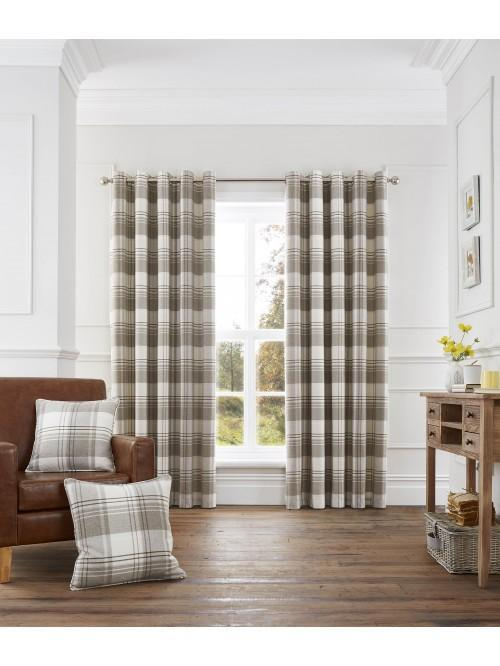 Tatton Woven Check Eyelet Curtains Cream