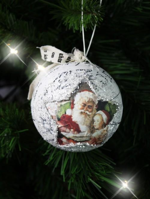 Decoupage Santa Bauble