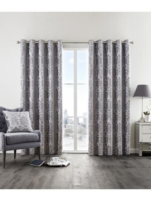 Hotel Collection Valencia Thermal Eyelet Curtains Silver