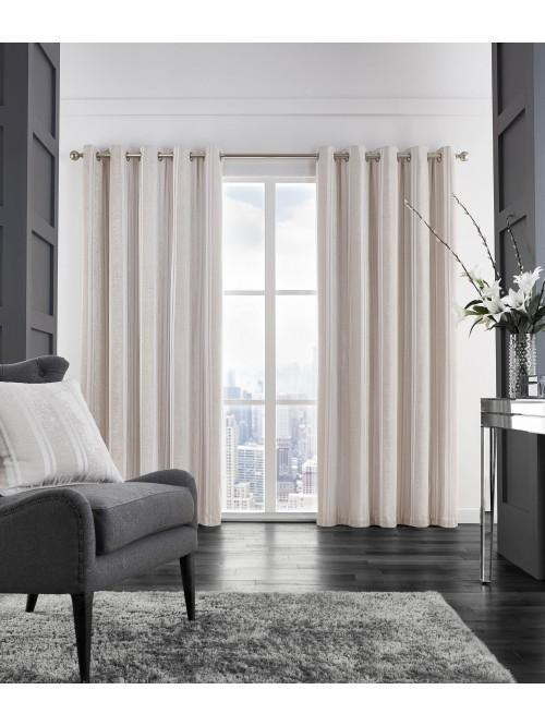 Velvet Stripe Thermal Eyelet Curtains Champagne