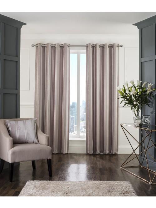 Hotel Velvet Stripe Thermal Eyelet Curtains Oyster