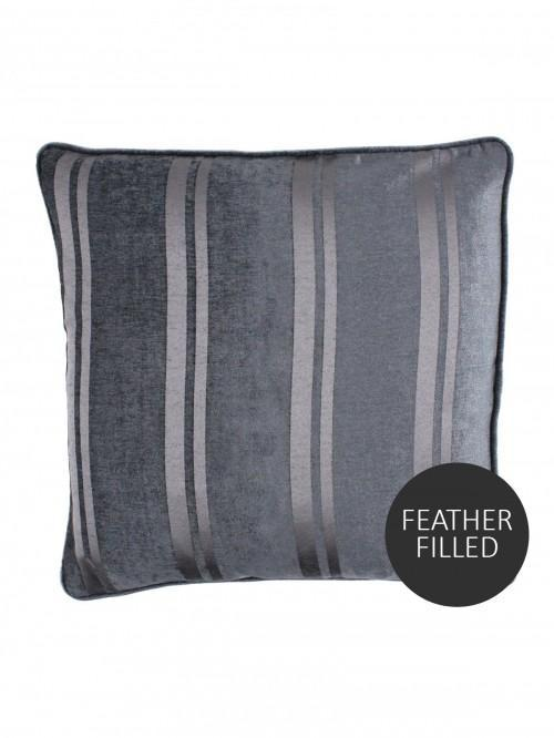 Hotel Luxe Velvet Stripe Feather Filled Cushion Charcoal