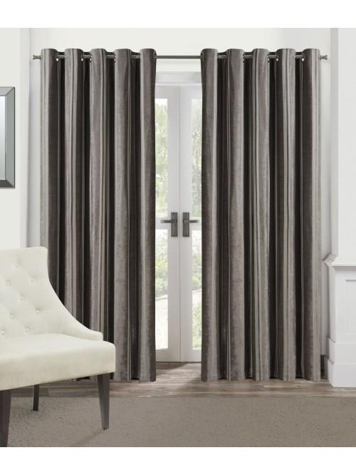 Hotel Velvet Stripe Thermal Eyelet Curtains Mink