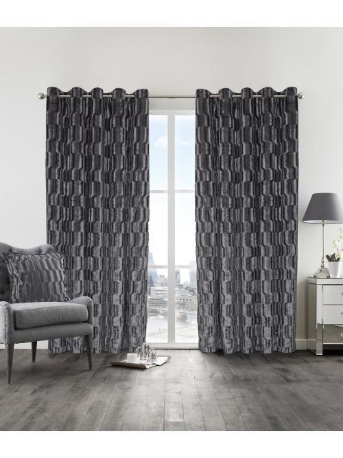 Hotel Luxe Veneto Eyelet Curtains Silver