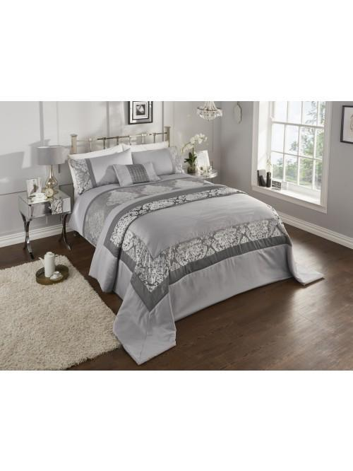 Verona Damask Panel Bedding Collection Silver
