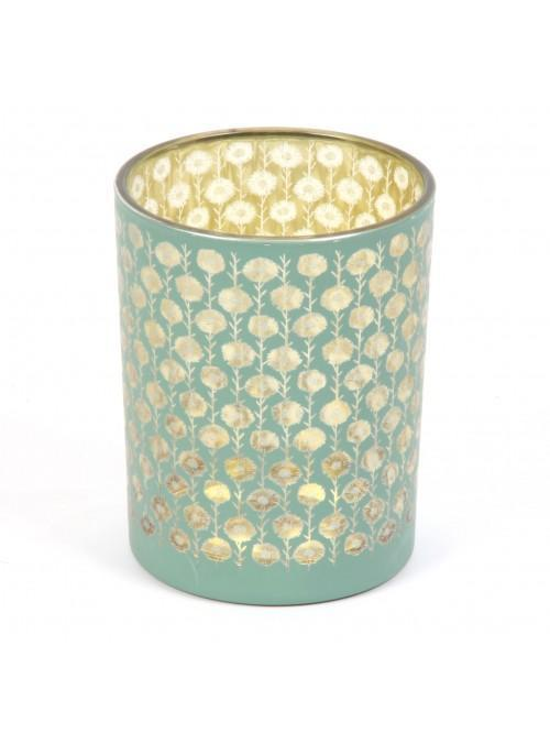 'Vicky Yorke' Sand Dunes Green Glass Candle Holder