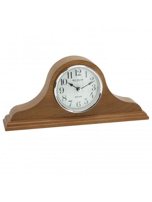Napoleon Oak Finish Wooden Mantel Clock with Arabic Dial