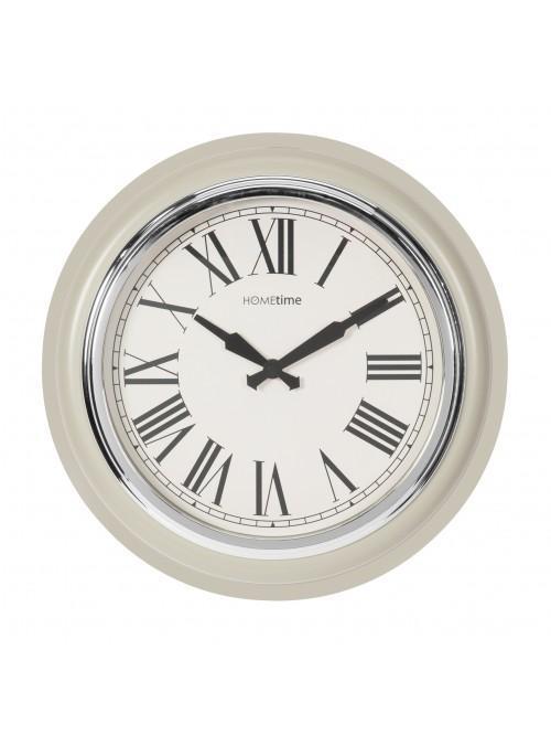 Hometime Round Wall Clock Cream/Silver Bezel Roman 32cm