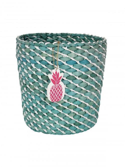 Stripe Wicker Waste Basket