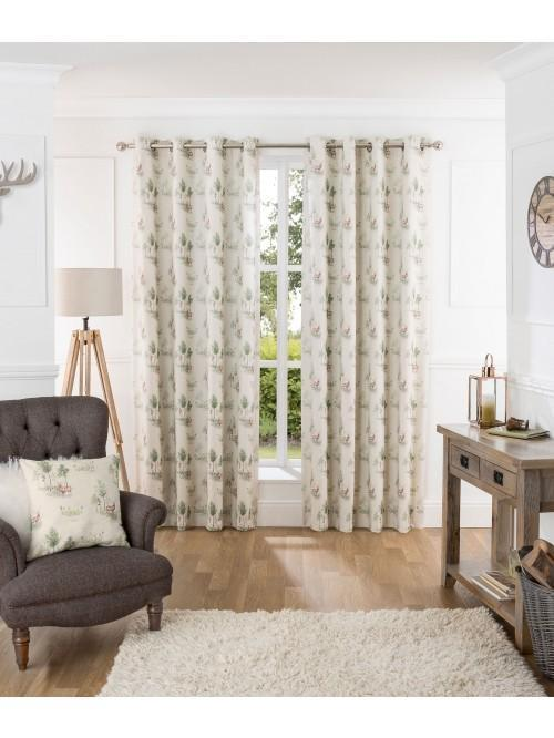 Watercolour Stag Eyelet Curtains Green
