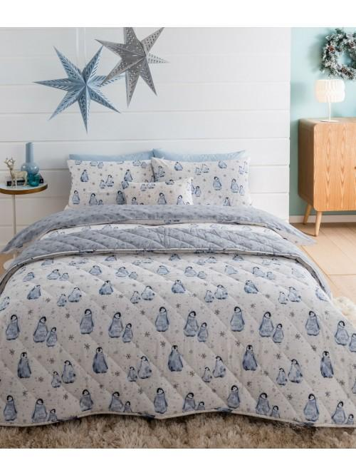 Watercolour Penguin Bedding Collection Duck Egg