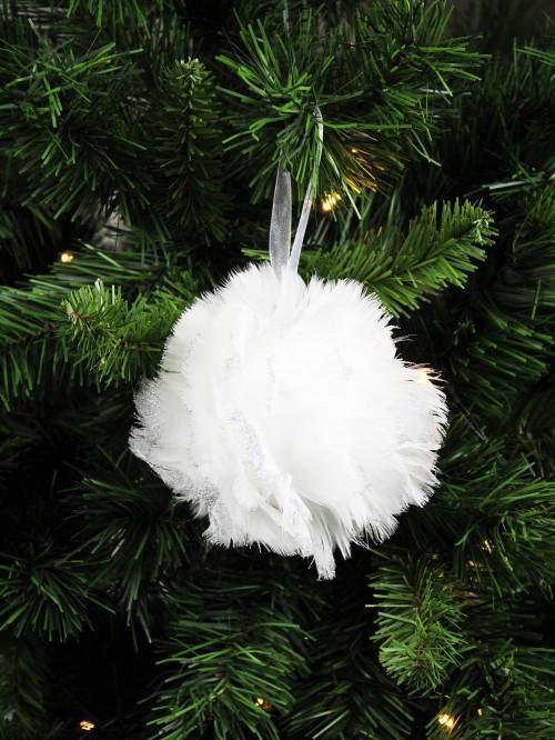 White Feather Bauble Dec White