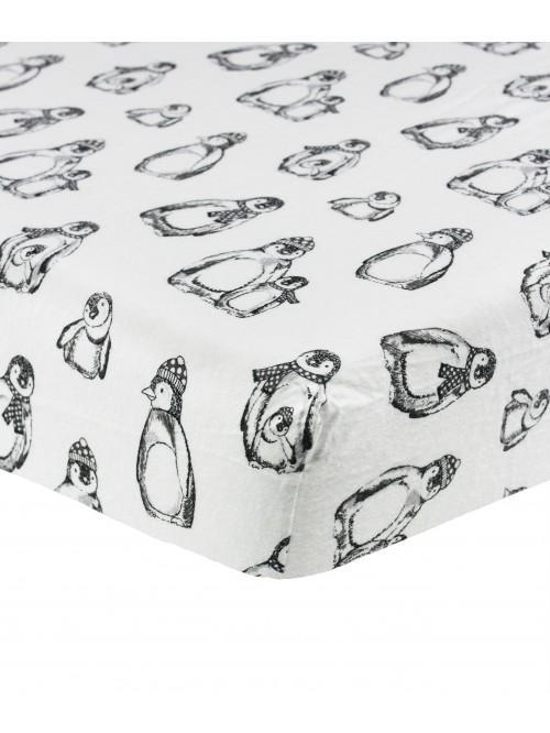 Winter Penguin Flannelette Bed Linen White
