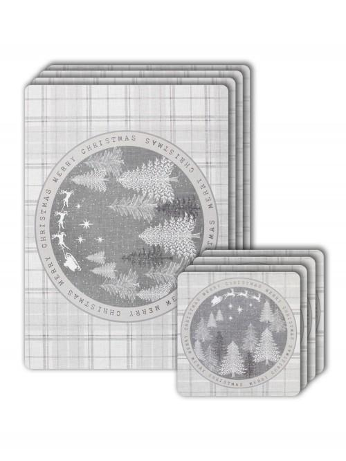Winter Wonderland Placemat & Coaster Set Grey