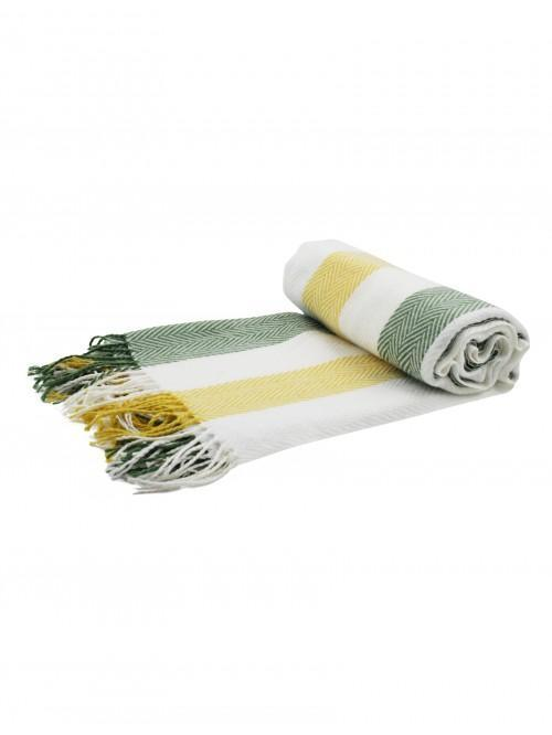Woven Herringbone Stripe Throw Green