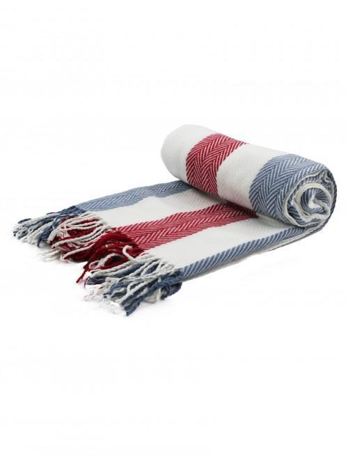 Woven Herringbone Stripe Throw Navy